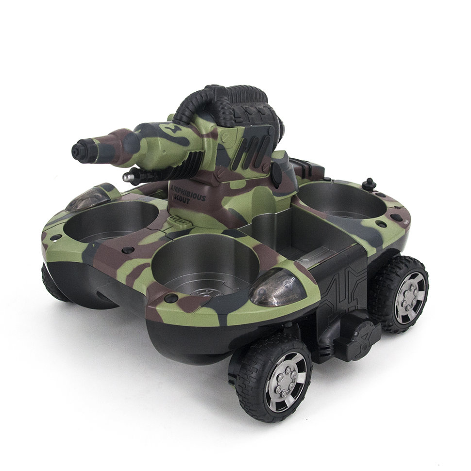 Радиоуправляемый танк-амфибия, стреляющий водой 2.4G