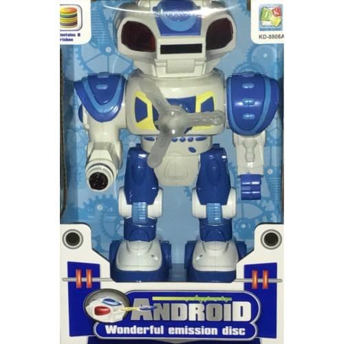 Робот с вентилятором на груди,ходит,стреляет поролоновыми дисками из головы,на батарейках