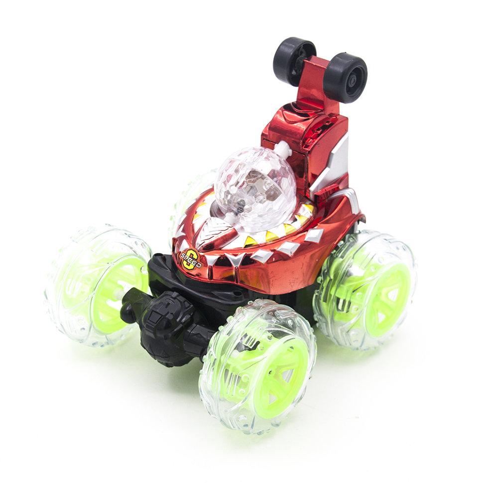Радиоуправляемая красная машинка перевертыш со звуком, световой диско-шар — RD970-5-R