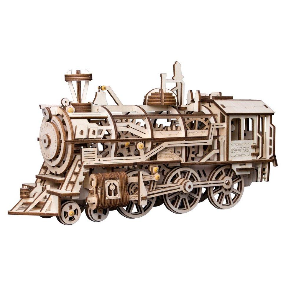Деревянный 3D конструктор с приводом Robotime «Locomotive» — LK701