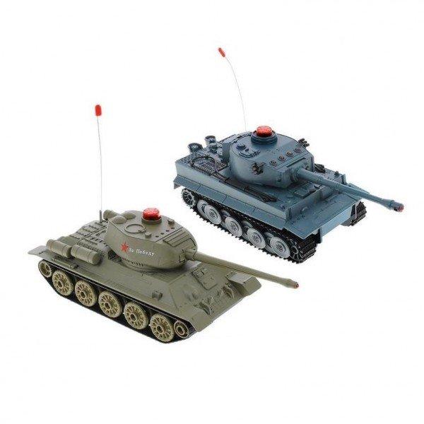 Радиоуправляемый танковый бой HuanQi Т-34 и Tiger 2.4G (два танка в комплекте) 1:24