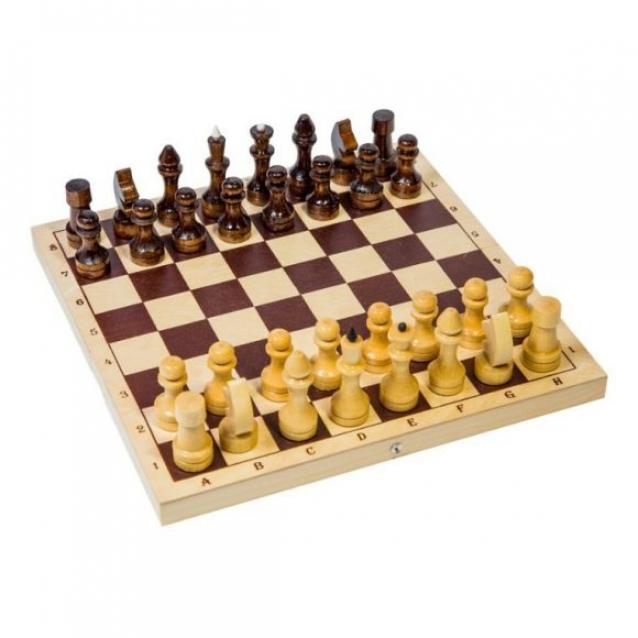 Шахматы обиходные с шахматной доской пластик 30х30 см и шашками (высота короля 71мм) , 03-036