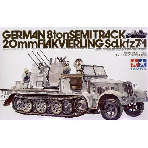 Немецкий полугусеничный тягач с 20 мм зенитной установкой и пятью фигурами (1:35)