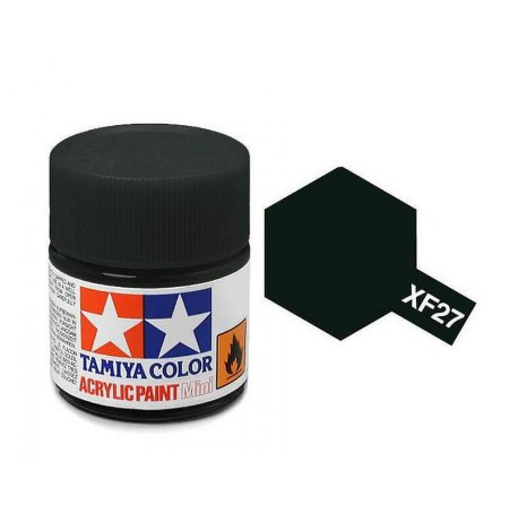 XF-27 BLACK GREEN FLAT, ACRYLIC PAINT MINI 10 ML. (ЧЁРНО-ЗЕЛЁНЫЙ МАТОВЫЙ) TAMIYA