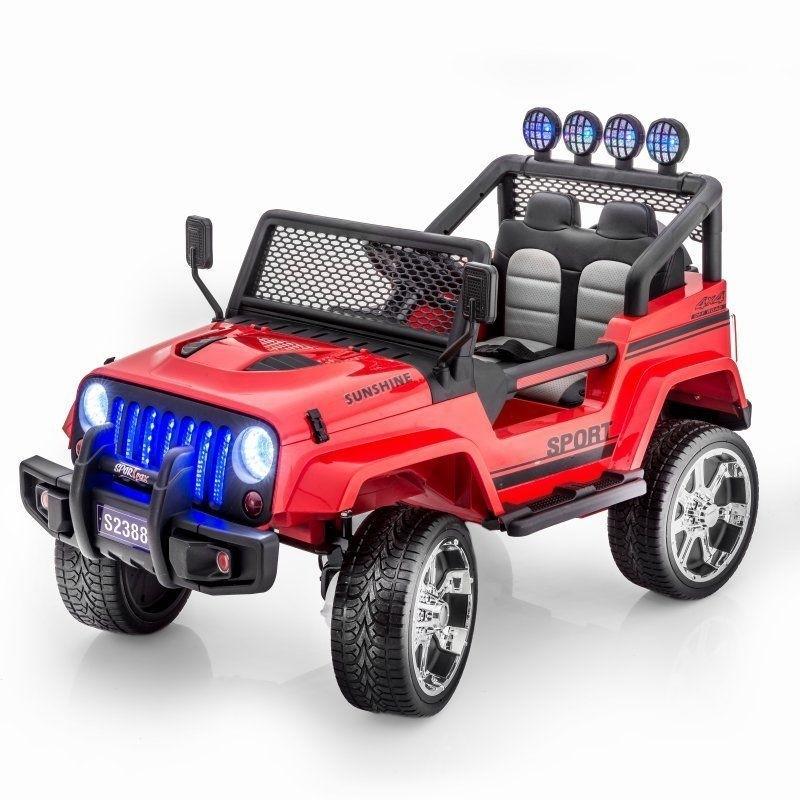Двухместный полноприводный электромобиль Red Jeep 12V 2.4G — S2388