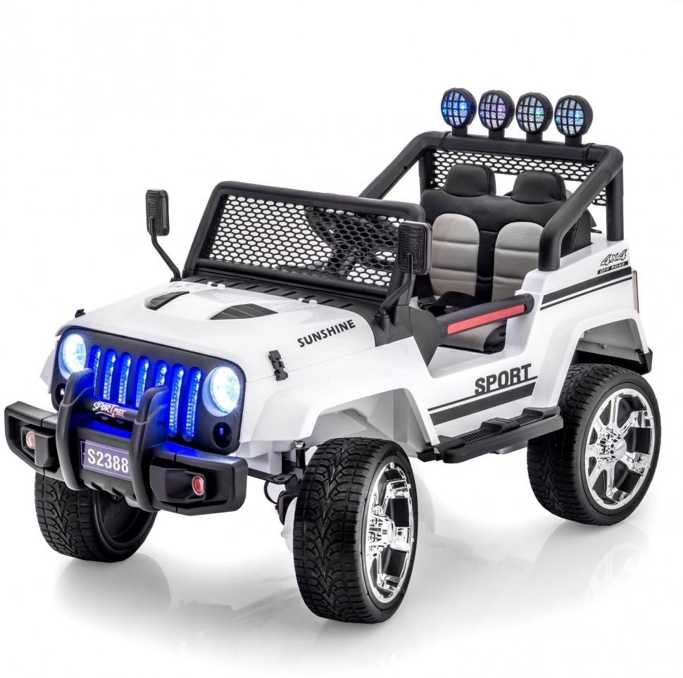 Двухместный полноприводный электромобиль White Jeep 12V 2.4G — S2388-W