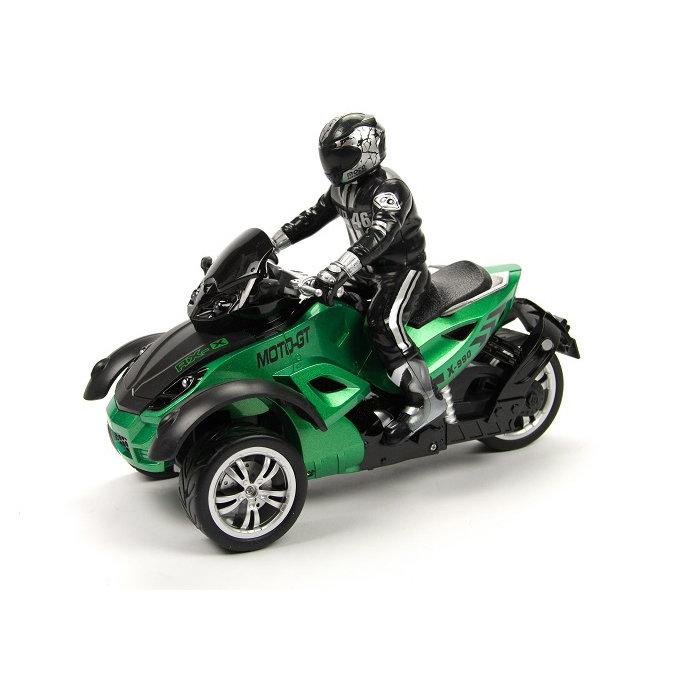Радиоуправляемый зеленый мотоцикл Yuan Di Трицикл 1:10