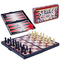 Т52450 1toy игра настольная 3в1 шашки/шахматы/нарды на магните 25х13,2х3,5см