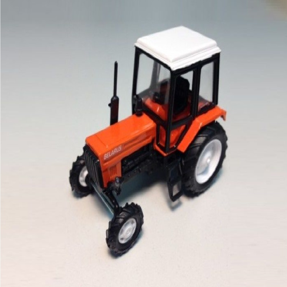 """Сувенирная модель трактора МТЗ-82 """"Люкс-2"""" металл (оранжевый с бел.кабиной) 1:43"""