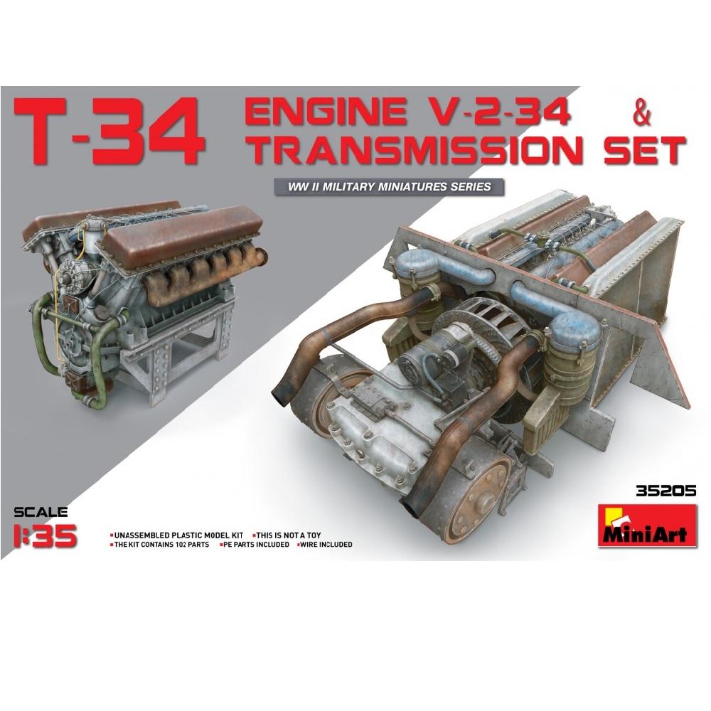 T-34 Engine V-2-34 & TRANSMISSION SET (1:35)